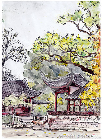 Jardin de chinois traditionnel avec des pavillons de for Conception jardin chinois