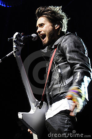 Jared Leto of 30 Seconds to Mars performing. Editorial Photography