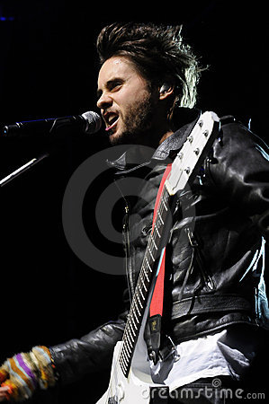 Jared Leto of 30 Seconds to Mars performing. Editorial Photo