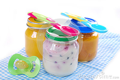 Jars with baby food
