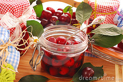Jars of cherry compote