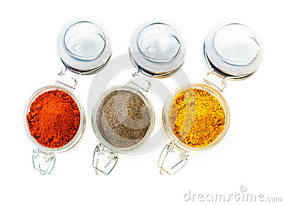 Jars of colourful ground spice