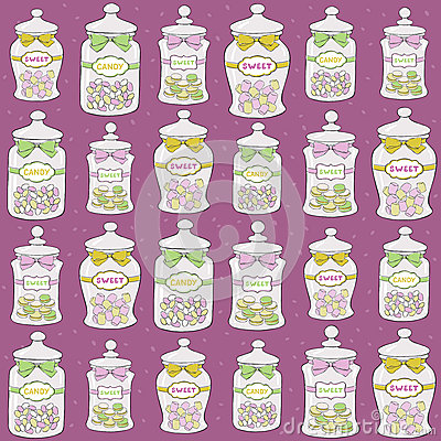 Jars with confections seamless pattern
