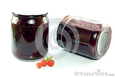Jars of homemade raspberry jam