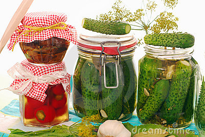 Jars of homemade vegetable preserves