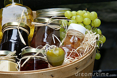 Jars of jam with fruits