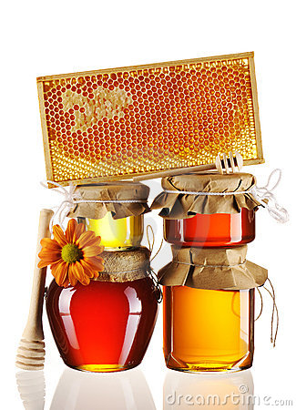 Free Jars Of Honey And Dipper Royalty Free Stock Images - 19043319