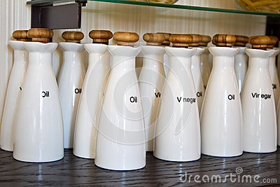 Jars of salt and oil