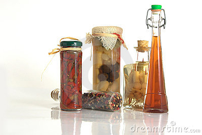 Jars of Spices and Garlic and onion