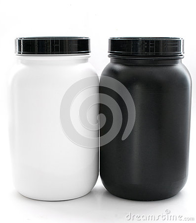 Jars for sport supplements black and white