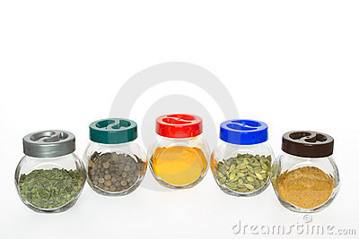Jars with various spices