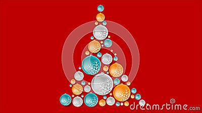 Jaskrawy abstrakcjonistyczny jedlinowy drzewo od Bożenarodzeniowych piłek ilustracja wektor