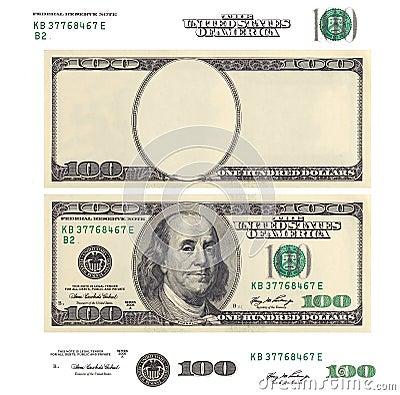 Jasnego 100 banknotu dolarowy szablon i elementy