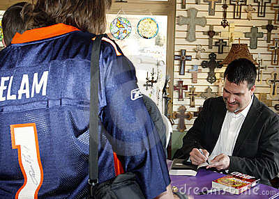 Jason Elam Autographs Novels for Fans Editorial Stock Photo