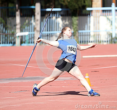 Javelin throw competition Editorial Stock Image