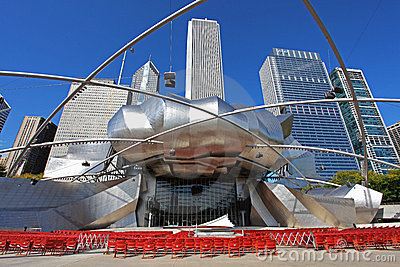 Jay Pritzker Pavilion in Millennium Park Editorial Stock Photo