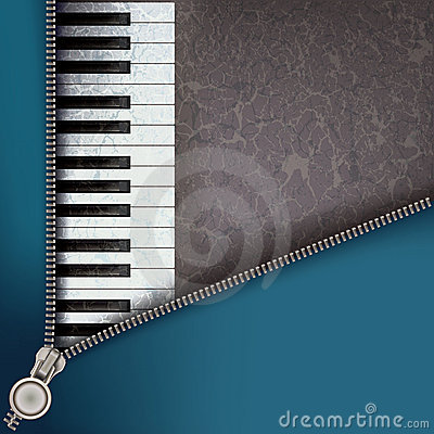 Jazz background with piano and open zipper