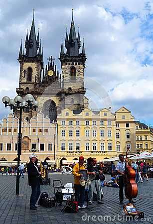 Jazz band on the Old Town Square Editorial Stock Image