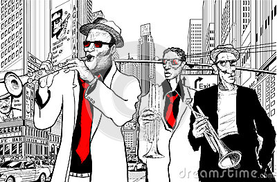 Jazz band in a street of new-York
