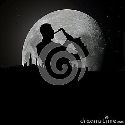 Jazz blues musician at moonlight
