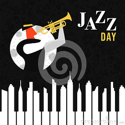 Free Jazz Day Poster Of Piano Key City At Night Royalty Free Stock Photos - 143797628