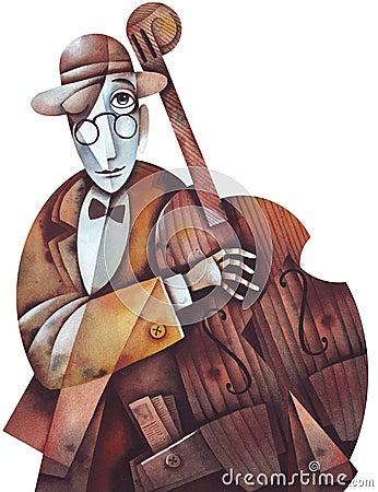 Jazz man with cello
