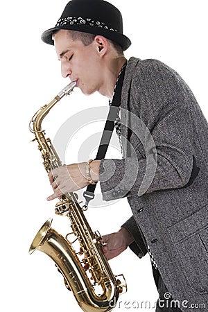 Jazz man plays a saxophone