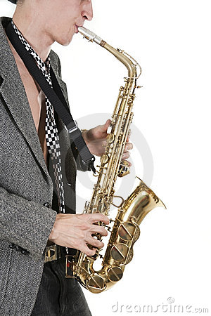 Jazz man plays a saxophone