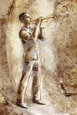 Jazz musician trumpeter on the retro background