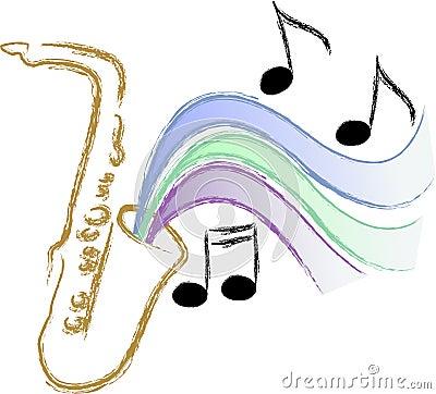 Jazz Saxophone Music/eps Vector Illustration