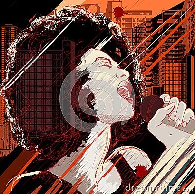 Jazz singer on grunge background