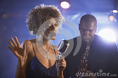 Jazz Singer And Saxophonist In Performance