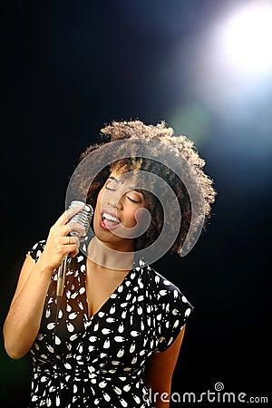Jazz singer on stage