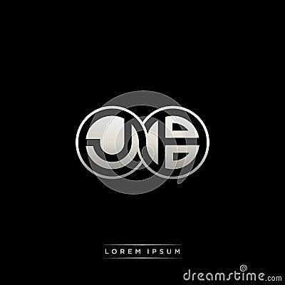 JB initial letter linked circle capital monogram logo modern template silver color version Vector Illustration