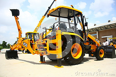 JCB 3DX Backhoe Loader Product Launch Editorial Stock Image