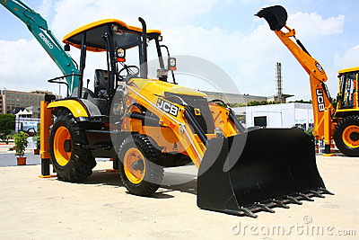 JCB 3DXL Wheeled Loader Launch at HITEX Exhibition Editorial Photo