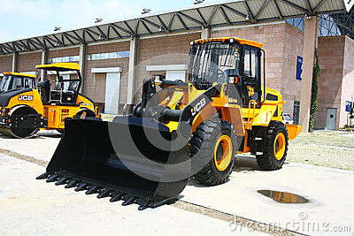 JCB 430ZX Wheeled Loader Launch at HITEX Exhibition Editorial Image
