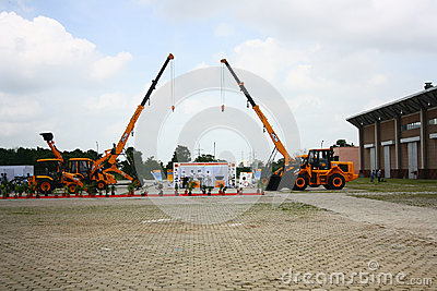 JCB Construction Equipments Stall at HITEX Expo Editorial Photo