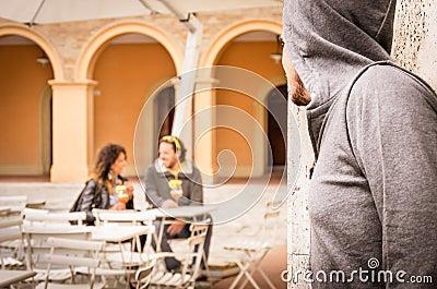 Jealous Man stalking couple of Lovers