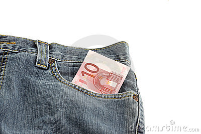 Jeans with a 10 euro note in pocket