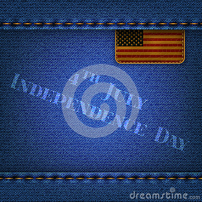 Jeans background with a leather flag and the inscription Indepe