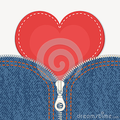 Free Jeans Background With Zipper And Heart Royalty Free Stock Image - 37199926
