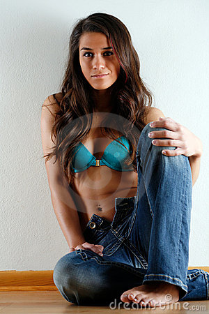 Jeans and a bra