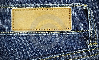 Jeans label sewed on a blue jeans