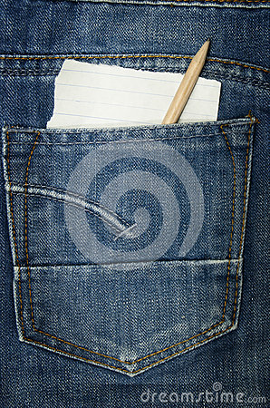 Jeans with a paper note
