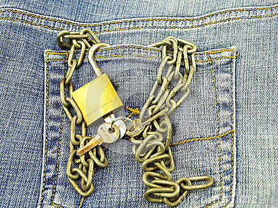 Jeans pocket and padlock