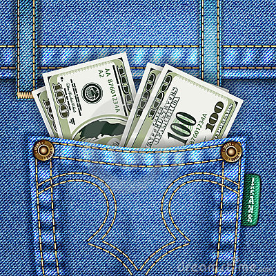 Jeans Pocket with Dollar Bills