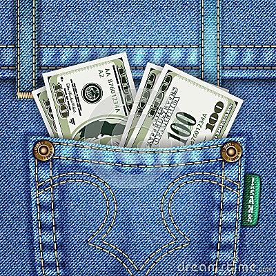 Jeans Pocket with Dollar Bills