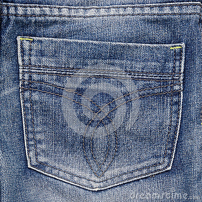 Jeans pocket. Fragment of jeans.