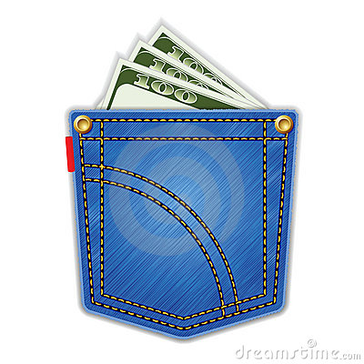 Free Jeans Pocket With Money. Royalty Free Stock Photo - 19398495